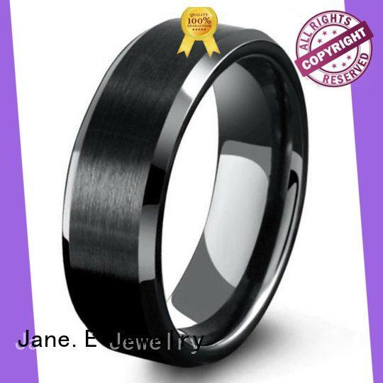 JaneE damascus texture tungsten ring matt for engagement