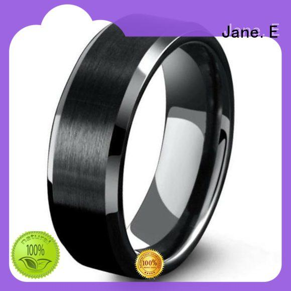 JaneE scratched resistant stainless steel inlay ring all size for wedding