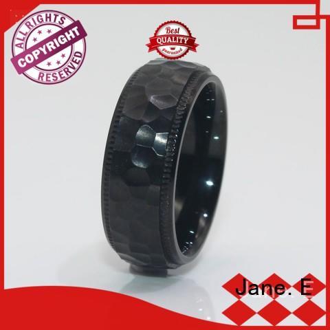simple stainless steel rings blue for men JaneE