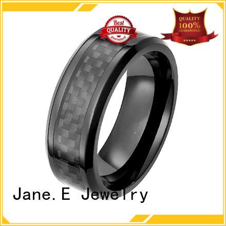 two tones mens black zirconium wedding rings carbon fiber durable supplier