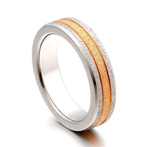 JaneE sparkle sandblasting mens 5mm titanium wedding band polished edge for anniversary-3