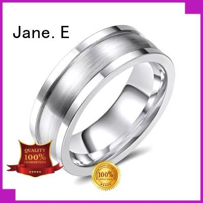 JaneE channel setting cobalt chrome mens wedding rings comfort fit for engagement