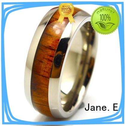 JaneE yellow gold black mens rings titanium wholesale for anniversary