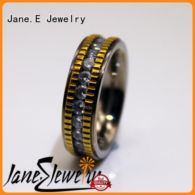 JaneE shiny women's stainless steel engagement rings brown for weddings