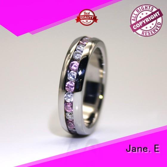 JaneE rose gold stainless steel rings for her multi colors for weddings
