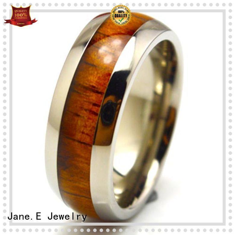 JaneE sparkle sandblasting black mens rings titanium factory direct for engagement