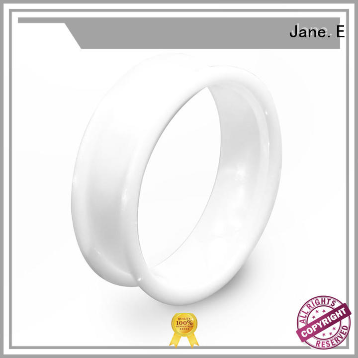 JaneE fashion black ceramic wedding bands womens hightech for inlay