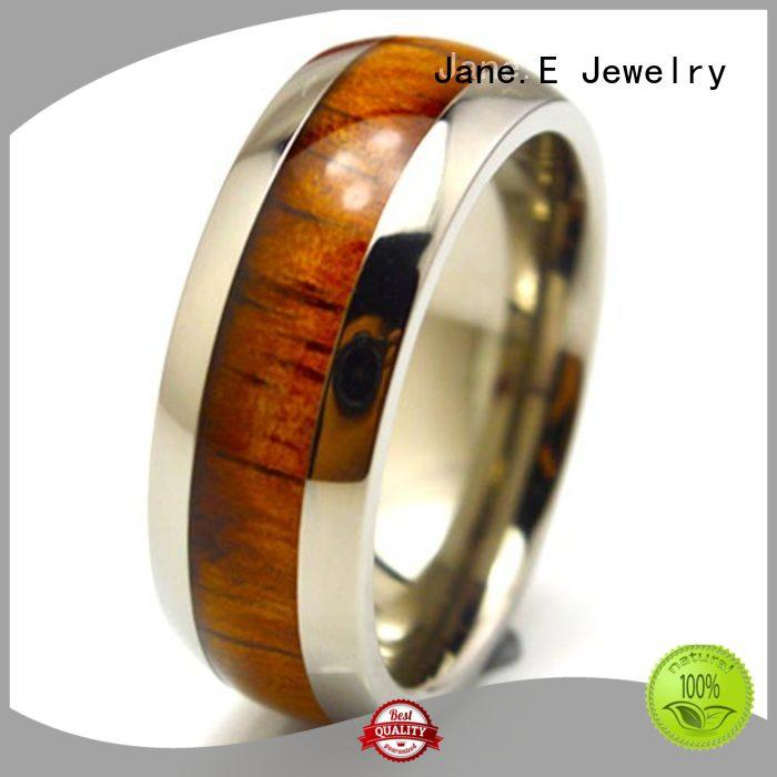 JaneE for wood crafts custom black titanium rings simple for anniversary