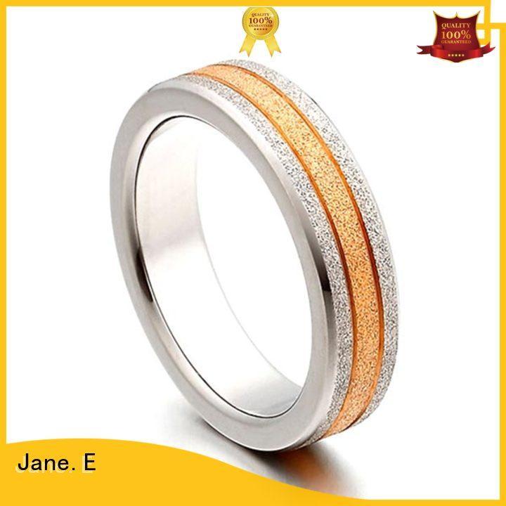 JaneE sparkle sandblasting mens 5mm titanium wedding band polished edge for anniversary