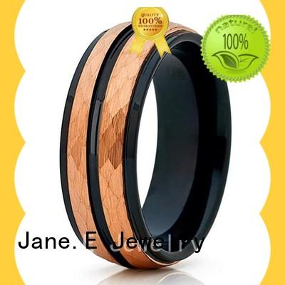 JaneE traditional tungsten ring blank inlay brushed for wedding