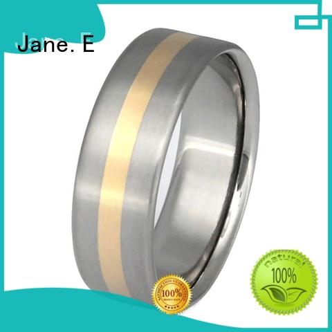 JaneE 316l stainless steel men's titanium wedding band modern design for anniversary