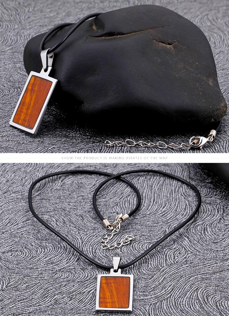 modern stainless steel pendant black plated leather chain for necklace-3