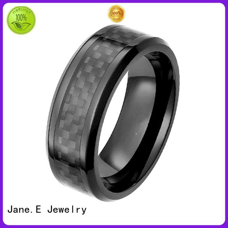 JaneE two tones black zirconium rings durability carbon fiber manufacturer