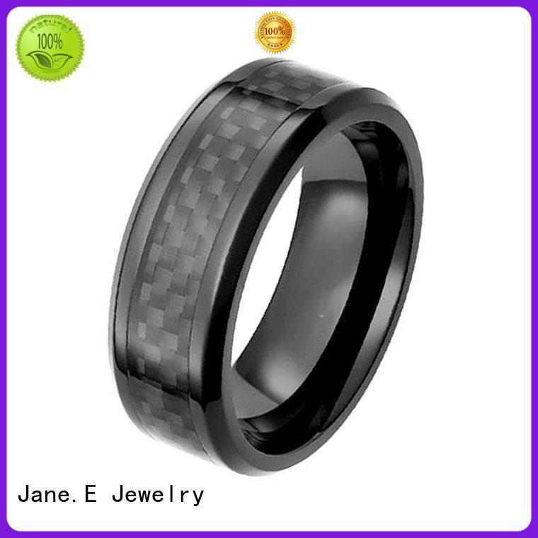 JaneE two tones black zirconium rings durability carbon fiber manufacturer