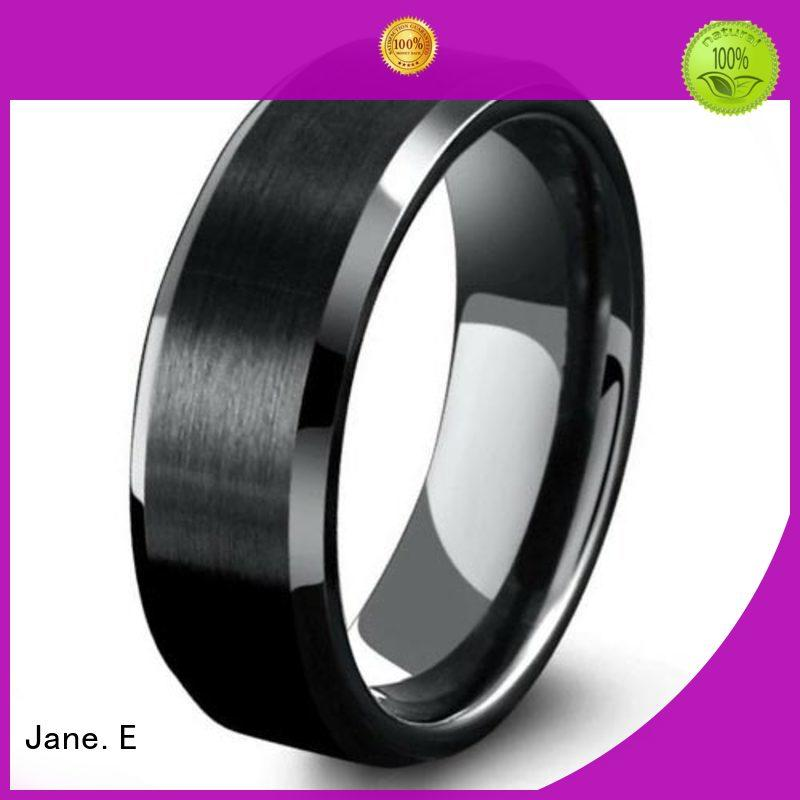 JaneE multi colors rose gold tungsten ring engraved for engagement