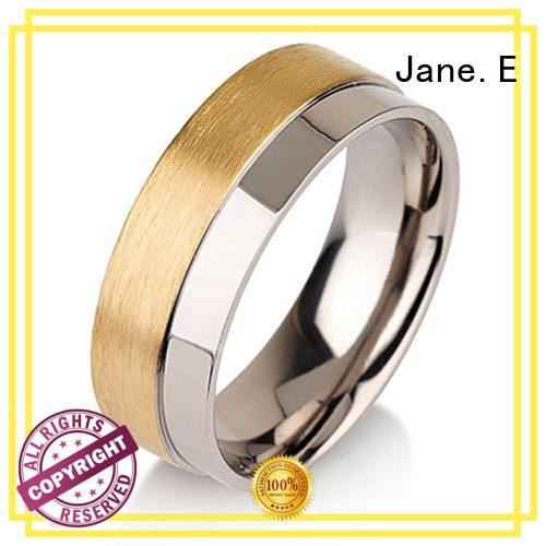 JaneE polished edge mens titanium wedding rings simple for anniversary