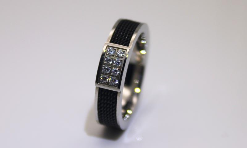JaneE 18k gold black stainless steel mens ring comfortable for decoration-1