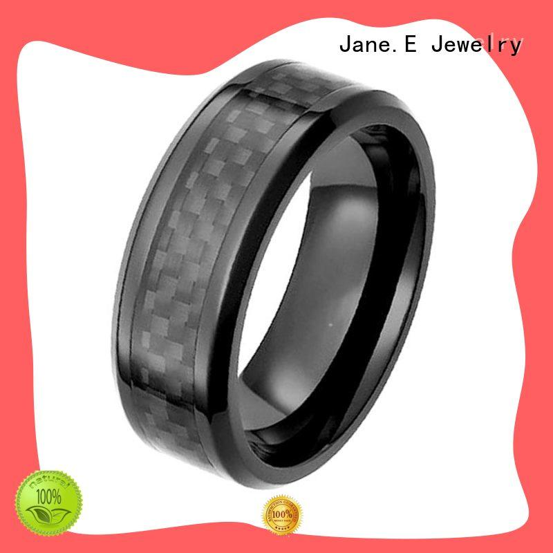 JaneE carbon fiber black zirconium men's wedding bands good quality manufacturer