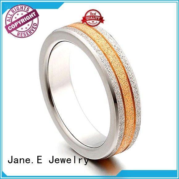 JaneE inlay black mens rings titanium wholesale for engagement