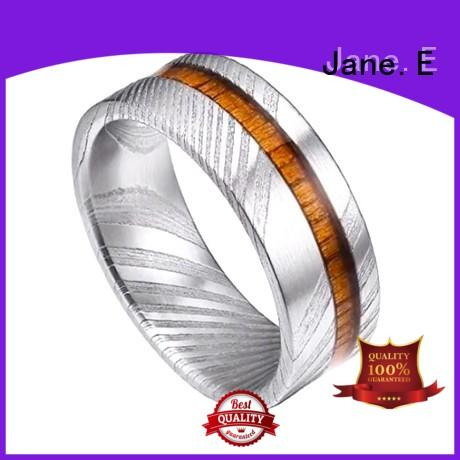 JaneE PVD/Ion plating damascus steel ring blanks factory direct for wedding