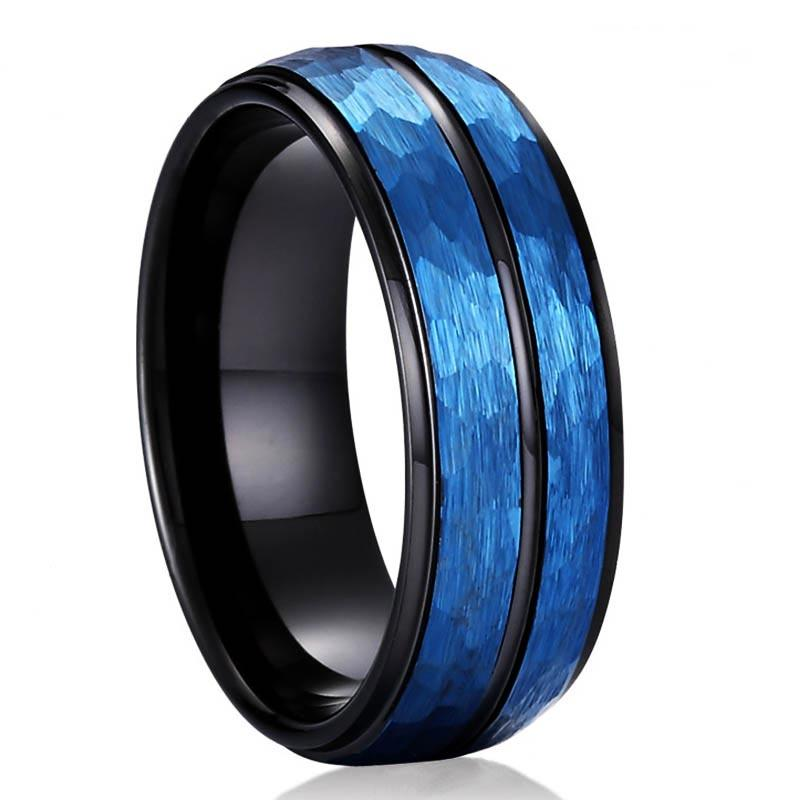 unique design tungsten male wedding bands two tones engraved for wedding-3