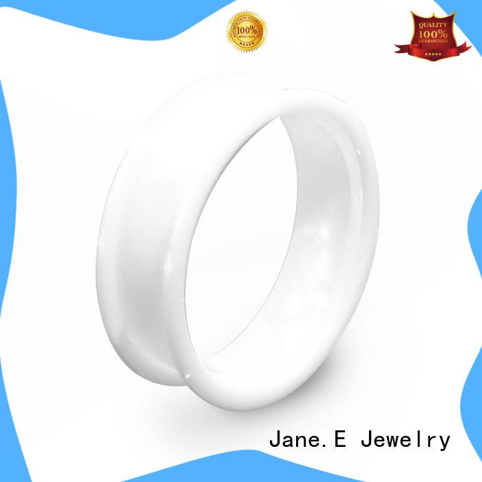 JaneE zirconia mens black ceramic ring exquisite for inlay