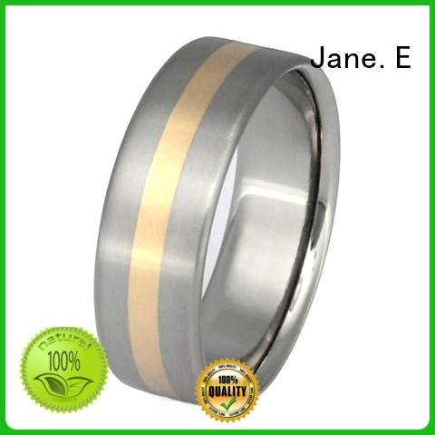 JaneE 14k yellow gold titanium wedding bands modern design for anniversary
