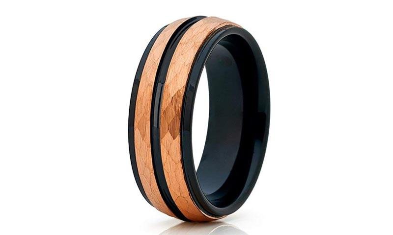 unique design tungsten male wedding bands two tones engraved for wedding-1