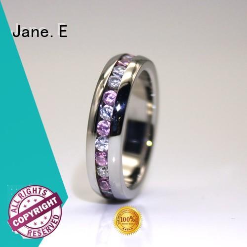 black steel rings for women blue for decoration JaneE