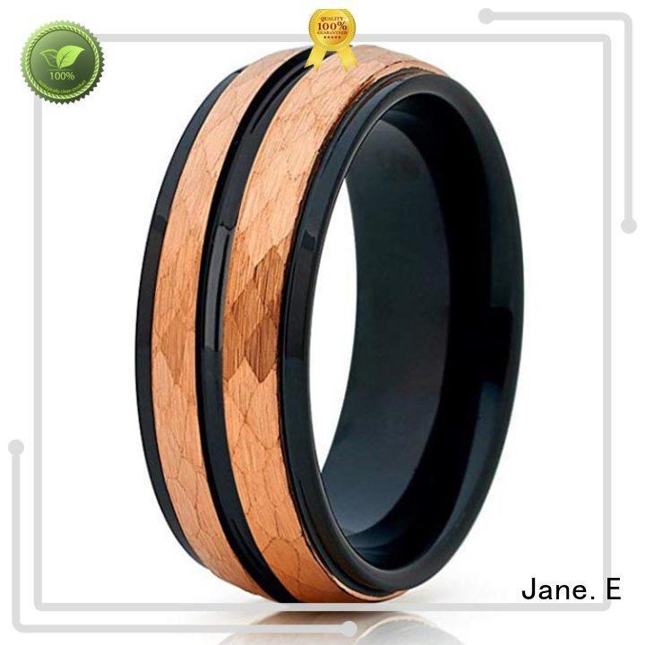 JaneE traditional tungsten rings for women engraved for engagement