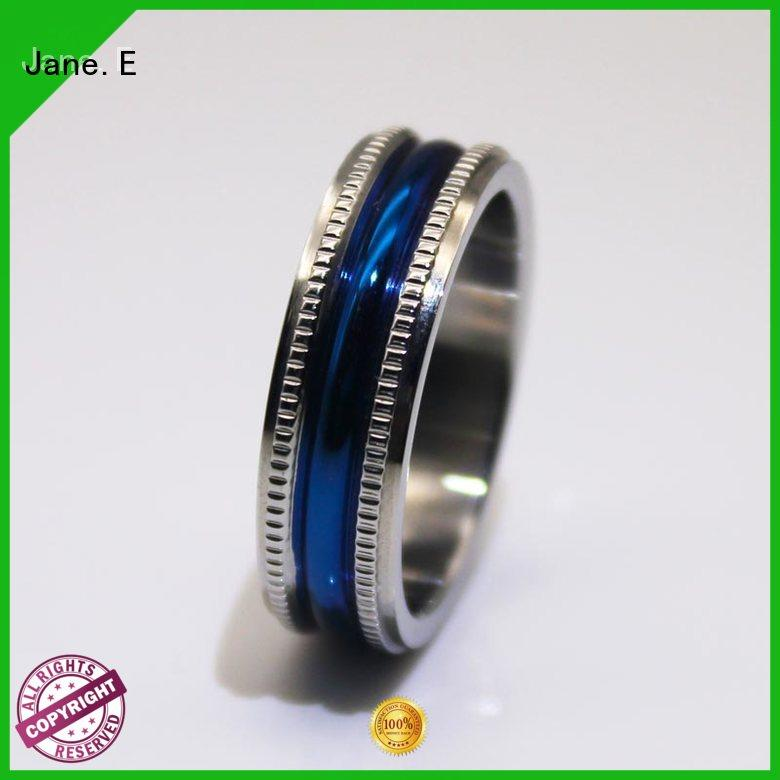 square edges surgical steel rings blue fashion design for decoration