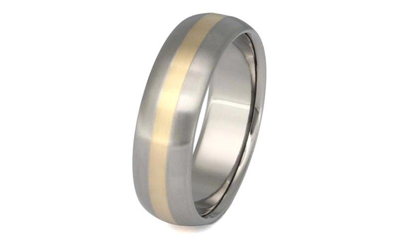 JaneE 14k yellow gold titanium wedding bands modern design for anniversary-1