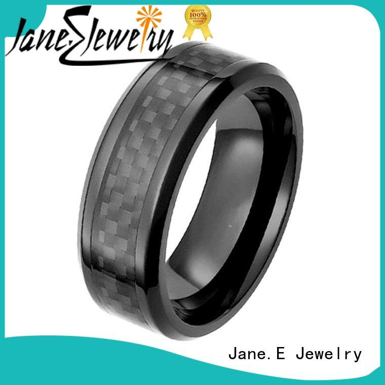JaneE hypoallergenic black zirconium wedding band contemporary supplier