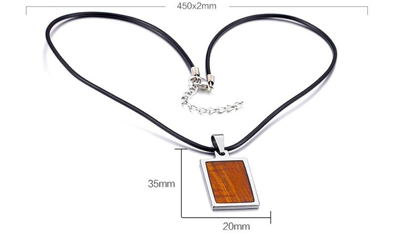 new design stainless steel pendant koa wood inlay beautiful for men-2