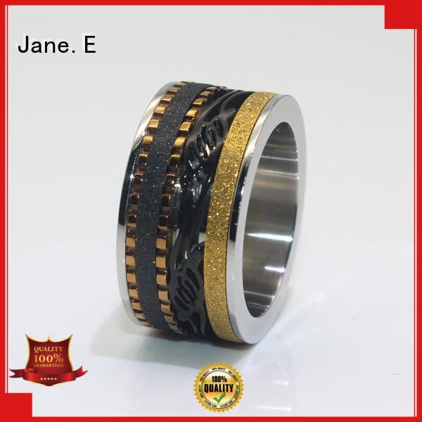 18k gold stainless steel fashion rings AAA CZ Stones for decoration JaneE