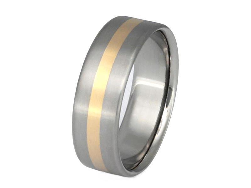 JaneE 14k yellow gold titanium wedding bands modern design for anniversary-3