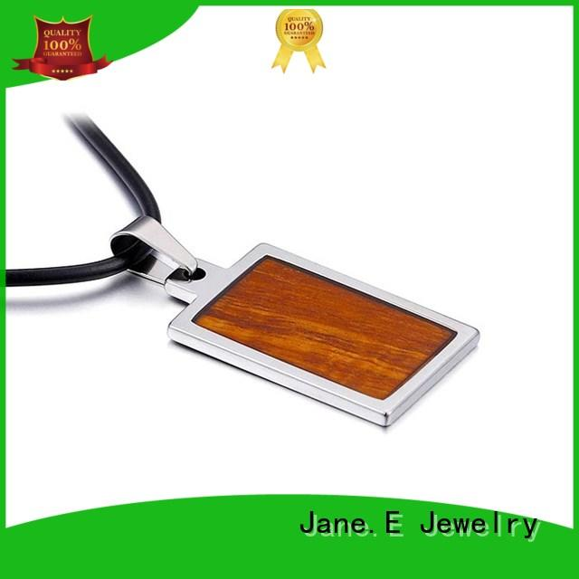 JaneE black plated stainless steel engravable pendants custom for men