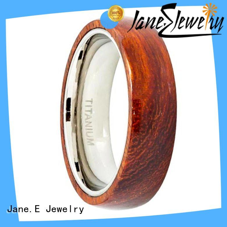 JaneE 8mm threads titanium wedding rings modern design for anniversary
