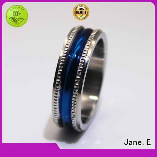 JaneE shiny stainless steel jewelry rings multi colors for men