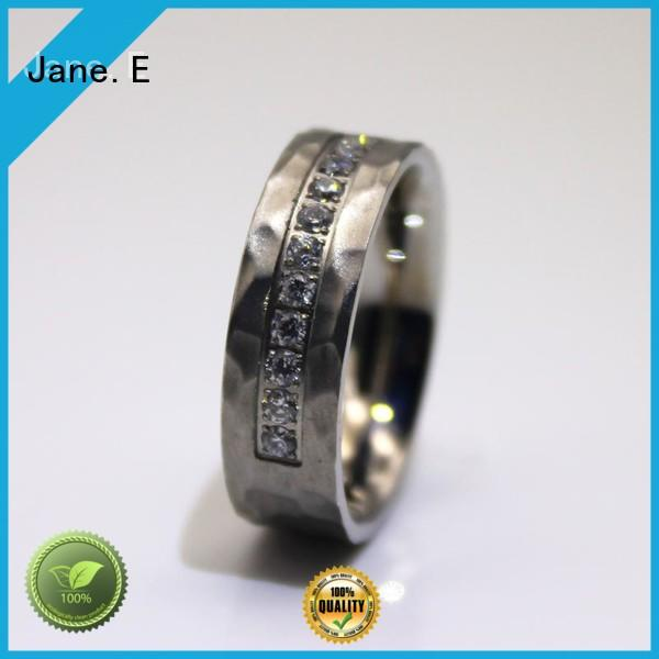 JaneE shiny stainless steel promise rings for couples comfortable for weddings