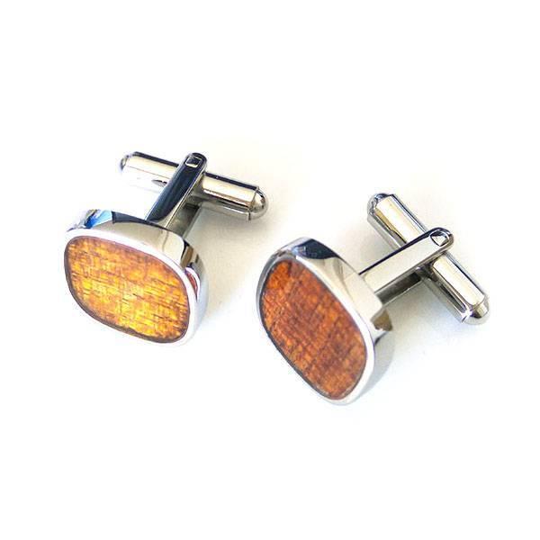 Koa Wood veneer inlay 316l Stainless Steel Mens Personalised Cufflinks