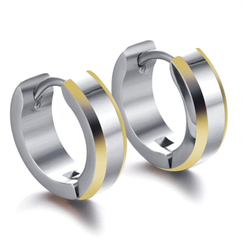 JaneE cubic mens titanium hoop earrings classic style for gift-2
