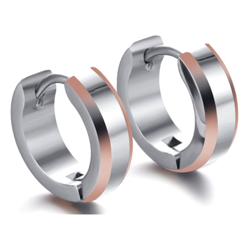JaneE cubic mens titanium hoop earrings classic style for gift-3