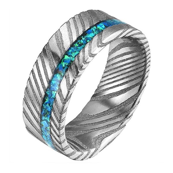 JaneE IP black plated damascus steel and wood wedding band wholesale for wedding-2