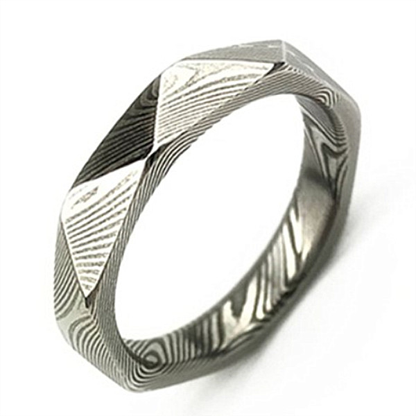 JaneE PVD/Ion plating damascus steel ring wholesale for engagement-2