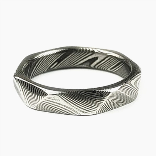 JaneE PVD/Ion plating damascus steel ring wholesale for engagement-3