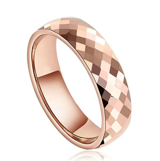 JaneE koa wood engraved tungsten rings engraved for engagement