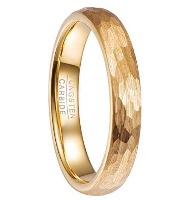 JaneE red opal tungsten wedding band engraved for gift