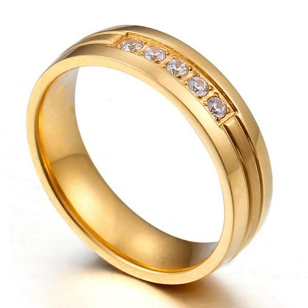 shiny custom stainless steel rings inlay top quality for men