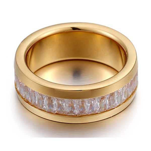 JaneE shiny stainless steel ring multi colors for men-2
